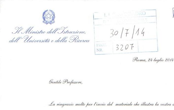 Lettera del Ministro Giannini
